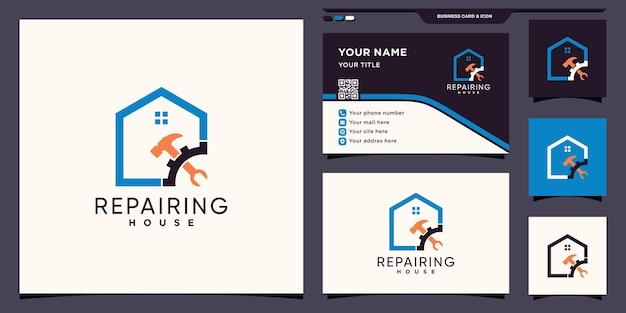 Huis repareren logo met creatief concept en visitekaartje ontwerp premium vector
