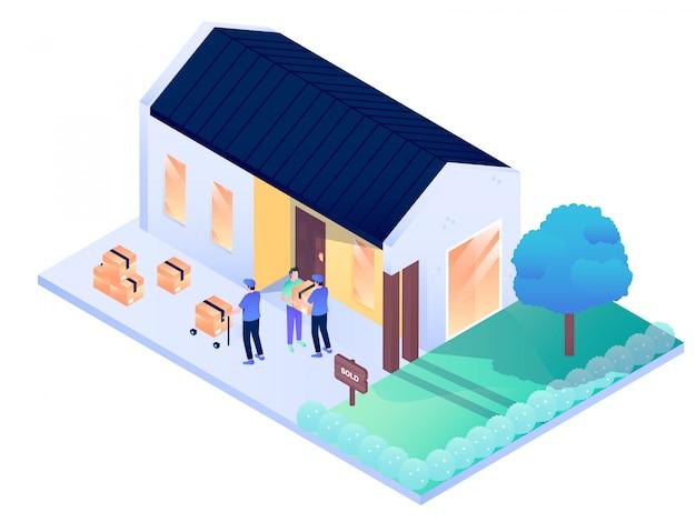 Huis residence city interieur exterieur isometrische vectorillustratie ontwerp