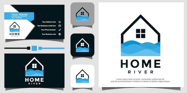 Huis rivier natuur logo ontwerp illustratie