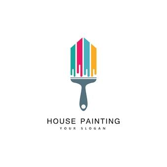 Huis schilderij service, decor en reparatie multicolor icoon. vectorembleem, etiket, embleemontwerp. concept voor huisdecoratie, bouw, woningbouw en kleuring.