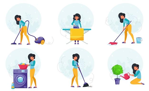 Huis schoonmaak concept. vrouw die huis het schoonmaken doet. in een vlakke stijl.