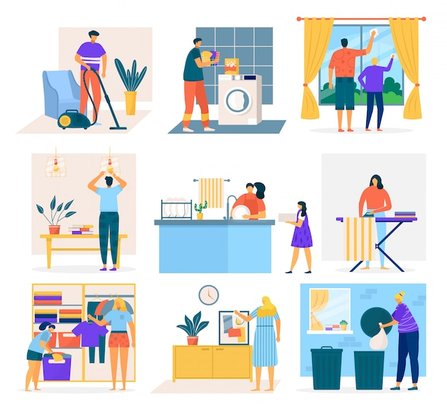 Huis schoonmaken en mensen die huishoudelijk werk doen, set van cartoon afbeelding. mannen, vrouwen en kinderen afwassen, ramen poetsen, tapijt stofzuigen, kleren opvouwen, vuilnis ophalen.