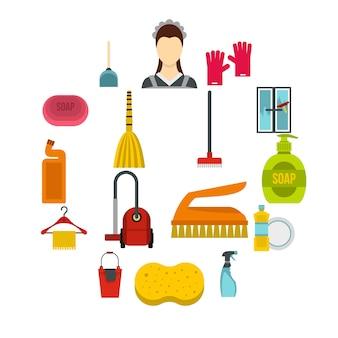 Huis schoonmaken iconen set, vlakke stijl