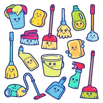 Huis schoonmaken schattige doodle illustratie