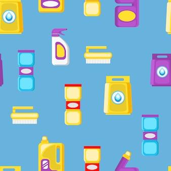 Huis schoonmaken tools cartoon naadloze patroon