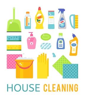 Huis schoonmakende hygiëne en producten vlakke vector geplaatste pictogrammen