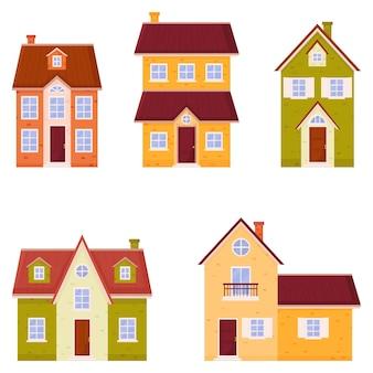Huis set. kleurrijke woonhuizen in een vlakke stijl.