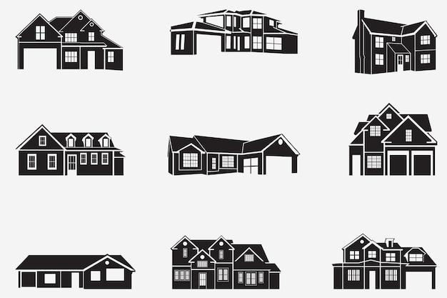 Huis silhouetten set