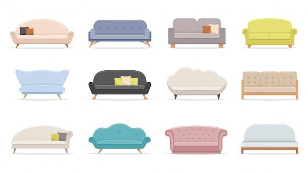 Huis sofa. comfortabele bank, minimalistische moderne banken illustratie set