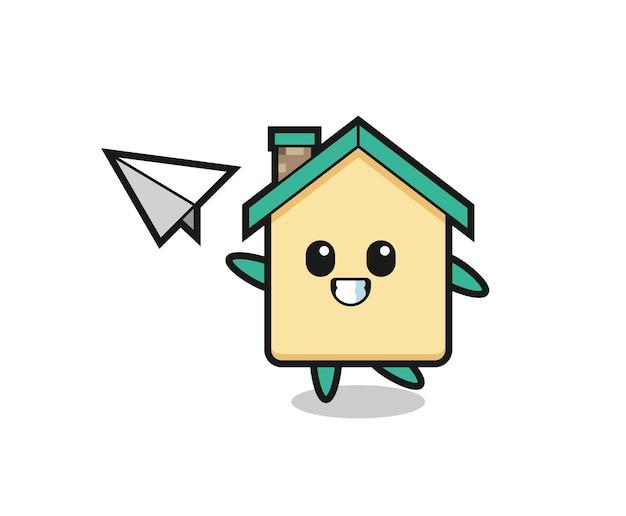 Huis stripfiguur gooien papieren vliegtuigje, schattig ontwerp