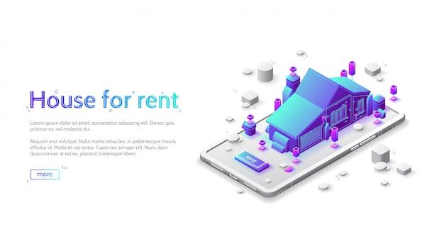 Huis te huur isometrische bestemmingspagina, mobiele app