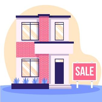 Huis te koop concept met teken