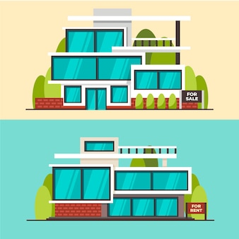Huis te koop concept