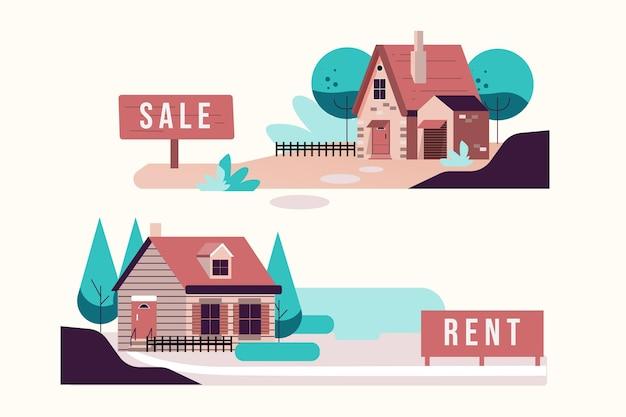 Huis te koop en te huur illustratie