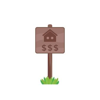 Huis te koop houten bord, onroerend goed vector
