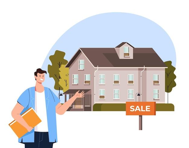 Huis te koop huur agent presentatie concept plat grafisch ontwerp vlakke afbeelding