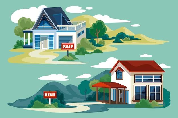 Huis te koop / huur illustratie