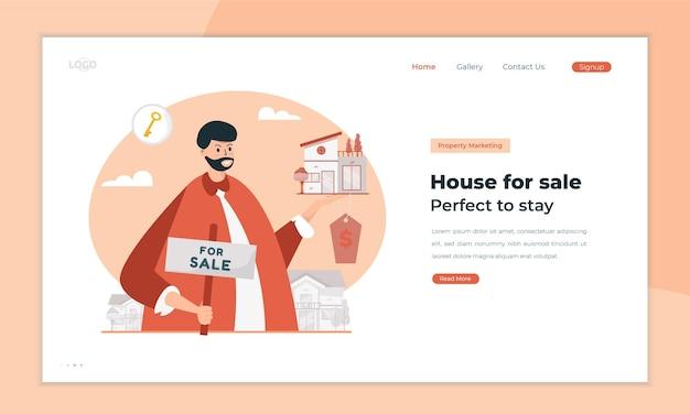 Huis te koop illustratie op bestemmingspagina concept