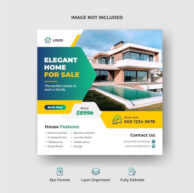 Huis te koop instagram post en social media banner of vierkante flyer-sjabloon premium vector