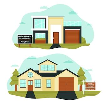 Huis te koop of te huur illustratie