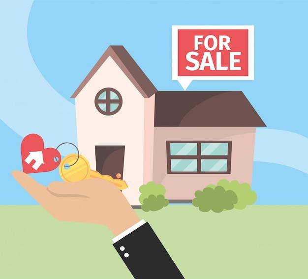 Huis te koop onroerend goed plan met sleutel