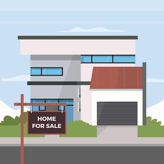 Huis te koop platte ontwerp illustratie