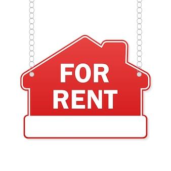 Huis te koop rood teken. korting aanbieding prijs teken.
