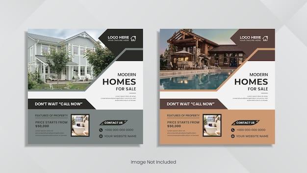Huis te koop social media post design met creatieve geometrische vormen.