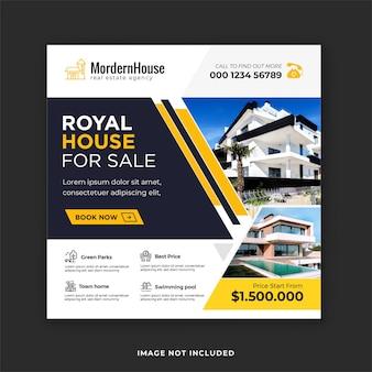 Huis te koop social media post en onroerend goed instagram bannersjabloon