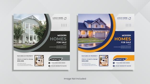 Huis te koop social media postontwerp met creatieve ronde vorm.
