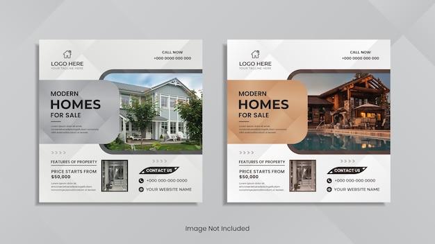 Huis te koop social media postontwerp met minimale geometrische vormen.