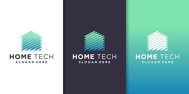Huis tech logo sjabloon