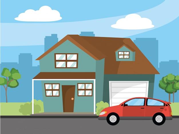 Huis thuis cartoon afbeelding