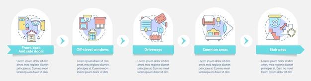 Huis toezicht vector infographic sjabloon. camera's locatiepresentatie schetsen ontwerpelementen. datavisualisatie in 5 stappen. proces tijdlijn info grafiek. workflowlay-out met lijnpictogrammen