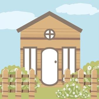 Huis tuin bloemen houten hek bush natuur illustratie