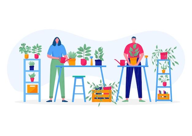 Huis tuin concept. jongeren houden plant met bladeren vast, zorgen voor bloem, water geven, planten, cultiveren. illustratie van bloemen, planten in potten met mensen die van hun hobby's genieten. vector