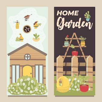 Huis tuin hek gieter potplant en planken illustratie