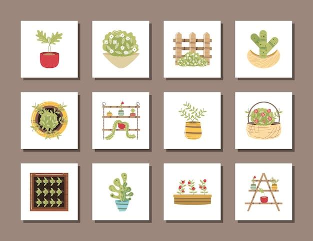 Huis tuin ingegoten plant bloemen hek mand pictogrammen illustratie