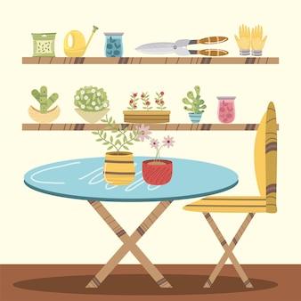 Huis tuin interieur tafel planten bloemen schaar en stoel illustratie
