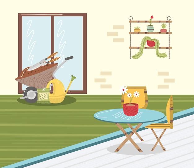 Huis tuin kruiwagen tafel planten plank en gieter illustratie