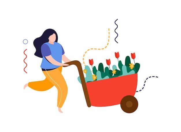 Huis tuin platte compositie met vrouw bewegende trolley vol planten vectorillustratie