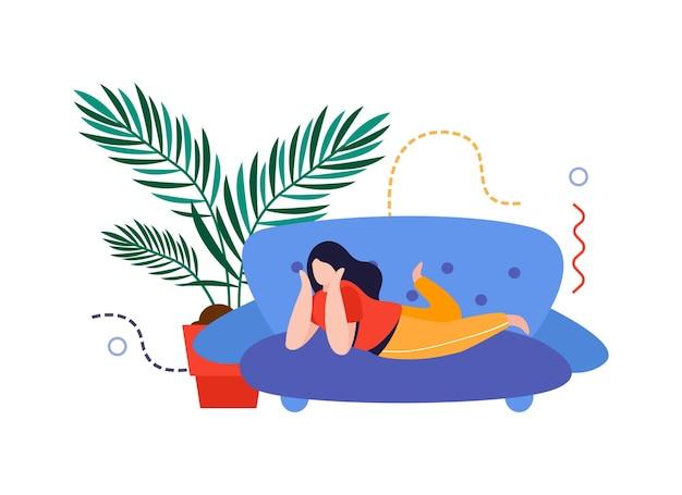 Huis tuin platte compositie met vrouw liggend op de bank met huis plant in pot vectorillustratie