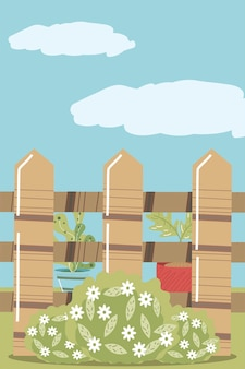 Huis tuin potplanten hek bloemen en bush illustratie
