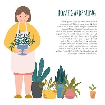 Huis tuinier karakter, lachende vrouw met bloempot, potplanten kamerplanten paraat. tekstsjabloon. illustratie clipart, leuke cartoon scandinavische stijl
