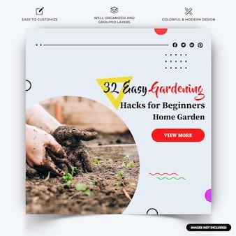 Huis tuinieren instagram post webbanner sjabloon vector premium vector