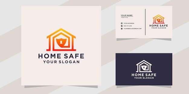 Huis veilig logo en visitekaartjesjabloon