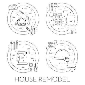 Huis verbouwen horizontale banner. element voor huisreparatie-, bouw- of renovatiebedrijf.