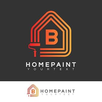 Huis verf begin letter b logo ontwerp