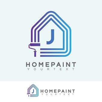 Huis verf begin letter j logo ontwerp