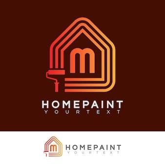 Huis verf begin letter m logo ontwerp
